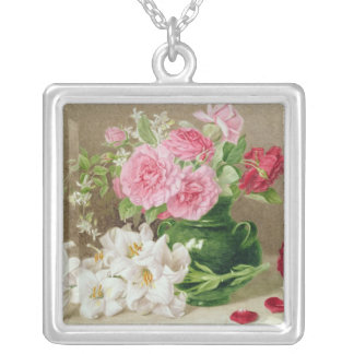 Roses and Lilies Silver Plated Necklace