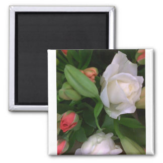 Roses and Lilies Square Magnet