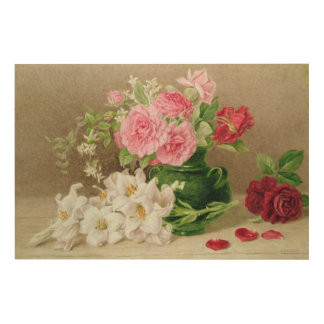 Roses and Lilies Wood Wall Art