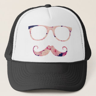 Roses and mustache trucker hat