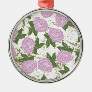 roses and peeling paint Silver-Colored round decoration