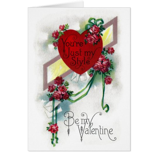 Roses and Ribbons Vintage Valentine Card