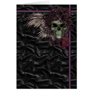 Roses and skull greeting card