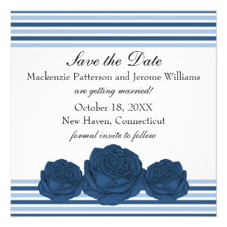 Roses and Stripes Save the Date Invite Blue