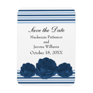 Roses and Stripes Save the Date Magnet, Blue