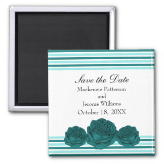 Roses and Stripes Save the Date Magnet, Teal Square Magnet