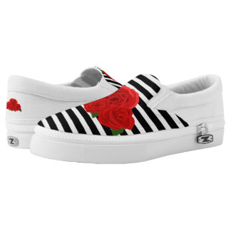 Roses and stripes slip on shoes