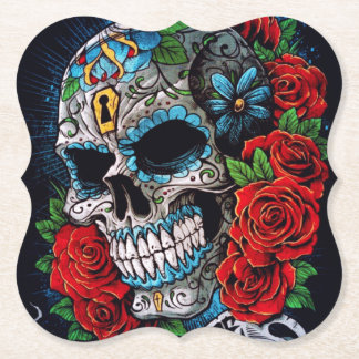 roses and sugarskull table coaster