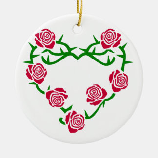 Roses and Thorns Heart Christmas Ornament