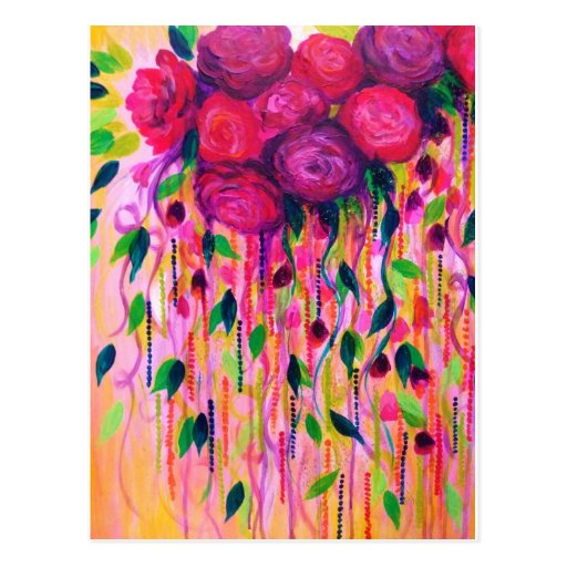 ROSES ARE RAD 2- Bold Pink Red Roses Floral Bouque Post Cards