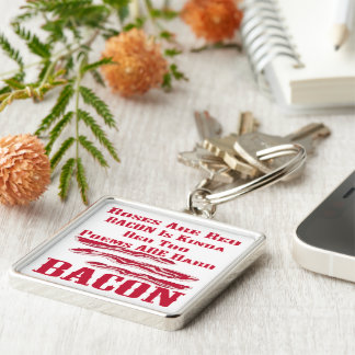 Roses Are Red Bacon Is Kinda Red Too BACON Silver-Colored Square Key Ring