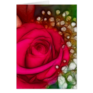 Roses Are Red Pink Fuschia Artistic & Unique Greeting Card