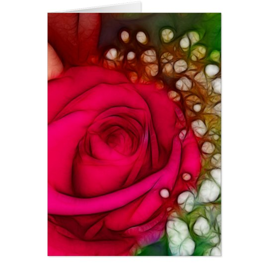 Roses Are Red Pink Fuschia Artistic & Unique Card