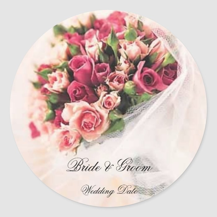Roses Bouquet Wedding Sticker