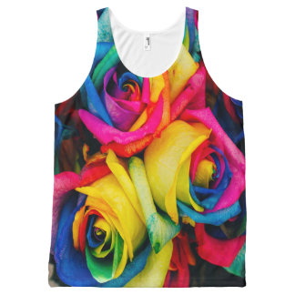 Roses bright and Gaudy Set in a Posy All-Over Print Tank Top