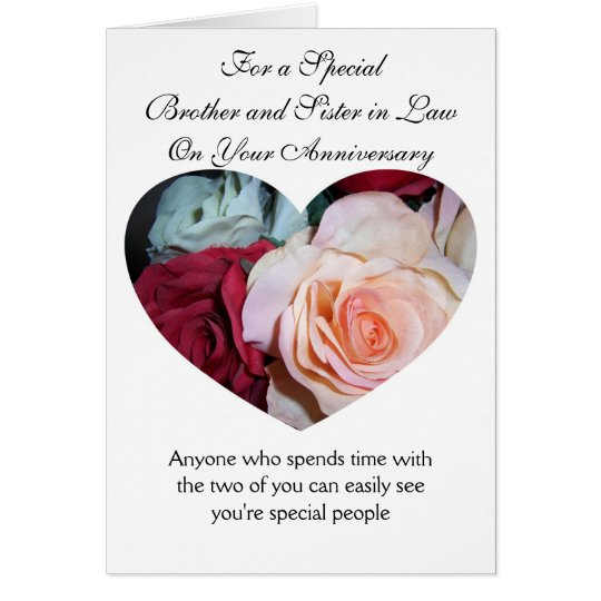 Roses Brother And Wife Wedding Anniversary Card