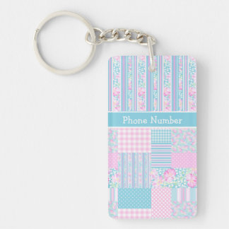 Roses, Butterflies, Faux Patchwork Custom Keychain