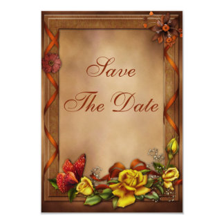 Roses & Butterfly Baby Shower Save the Date Card