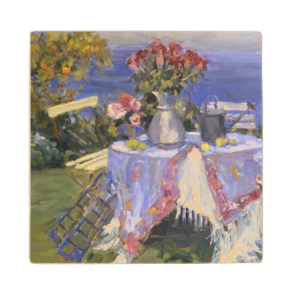 Roses by the Sea Maple Wood Coaster