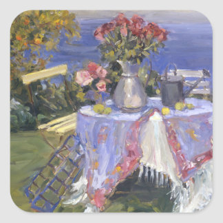 Roses by the Sea Square Sticker