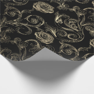 Roses Champaign Gold Classic Black Paris Wrapping Paper