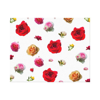 roses collage on white background canvas print