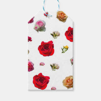 roses collage on white background gift tags
