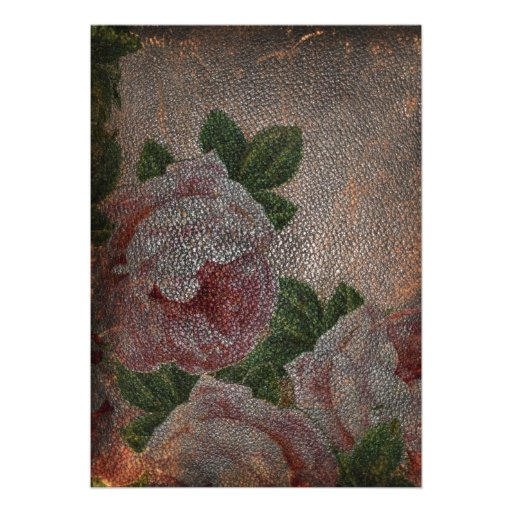 Roses Faded Leather Invites
