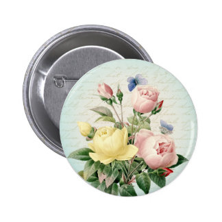 Roses floral vintage beautiful and girly button