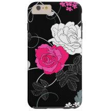 Roses, Flowers, Petals, Leaves - Pink White Black