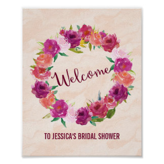 Roses Flowers Wreath Welcome Poster Print