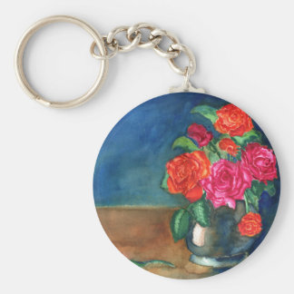 Roses for My Love Basic Round Button Key Ring