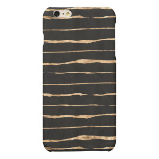Roses-Gold Squiggly Lines/Stripes Pattern & Black iPhone 6 Plus Case