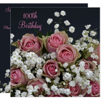 Roses & Gypsophila Bouquet 100th Birthday 13 Cm X 13 Cm Square Invitation Card