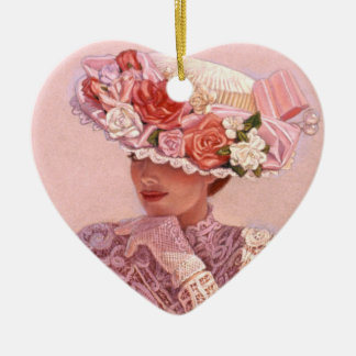 Roses Hat Victorian Lady Heart Christmas Ornament