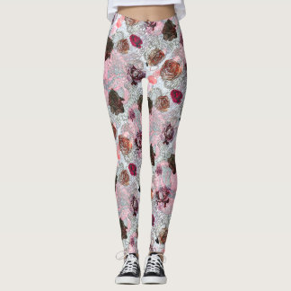 Roses, Hearts and Flowers Pattern Leggings