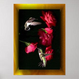 Roses & Hummingbirds 08-16-04c Poster