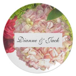 Roses & Hydrangea Garden Floral Wedding Party Plates
