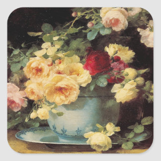 Roses in a Blue Bowl - Sticker
