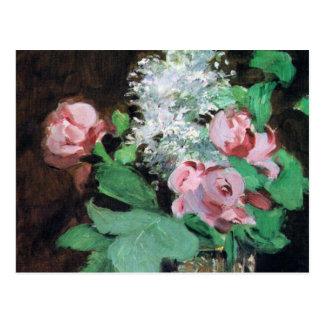 Roses in a Crystal Vase Bridal Postcard