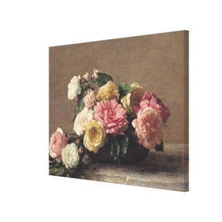 Roses in a Dish, 1882 Canvas Print