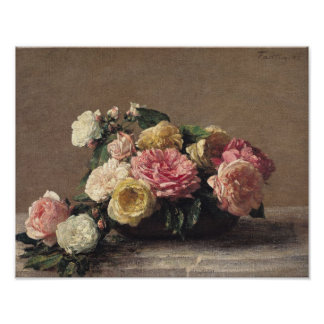 Roses in a Dish, 1882 Poster