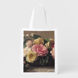 Roses in a Dish, 1882 Reusable Grocery Bag