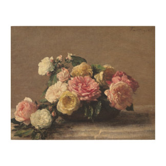Roses in a Dish, 1882 Wood Wall Decor