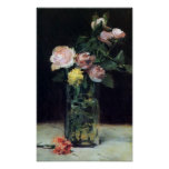 Roses in a Glass Vase Still Life by Manet Print