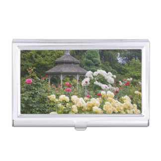 Roses in bloom and Gazebo Rose Garden at the Business Card Holder