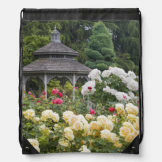 Roses in bloom and Gazebo Rose Garden at the Drawstring Bag