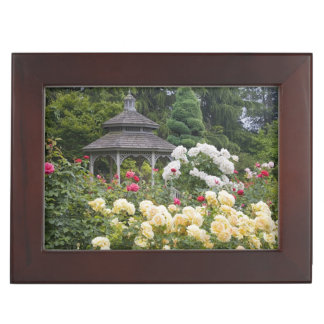 Roses in bloom and Gazebo Rose Garden at the Keepsake Box