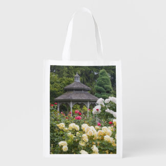 Roses in bloom and Gazebo Rose Garden at the Reusable Grocery Bag