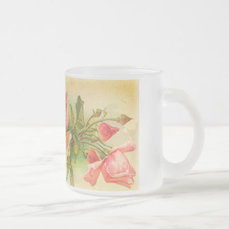 Roses in Bloom Frosted Glass Mug